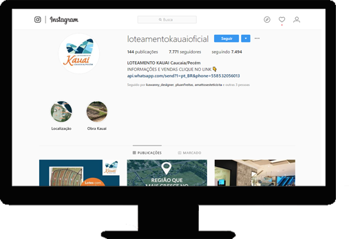 Instagram do Loteamento Kauai